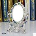 Dos caras de escritorio espejo espejo de vanidad princesa pequeña mesa de espejo de acero inoxidable compacto espejos de época J017