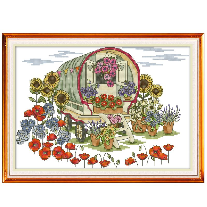 Flower Car DIY Handmade Needlework Counted 14CT Printed Cross Stitch Embroidery Kit Set Home Decoration Arts