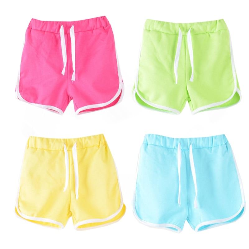 Fineser Little Boys Girls Kids Candy Colors Casual Drawstring Shorts Elastic Waist Bottoms Pants Beach Clothes Summer 1-6Yrs