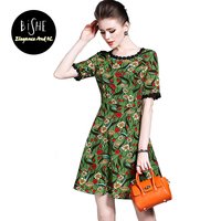 BiSHE 2017 Vintage Flower Wydrukowano Maxi Summer Beach Dress For Women Plus Rozmiar Lace Zielony Krótki Rękaw Eleganckie Ubrania Kobiet