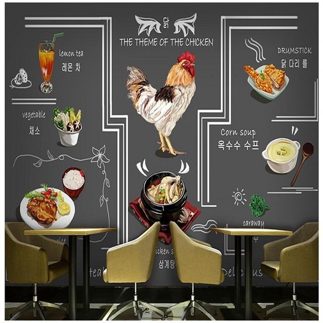 Tapete 3d Korean Gebratenes Huhn Hot Pot Küche Tapete Hand Getränke ...