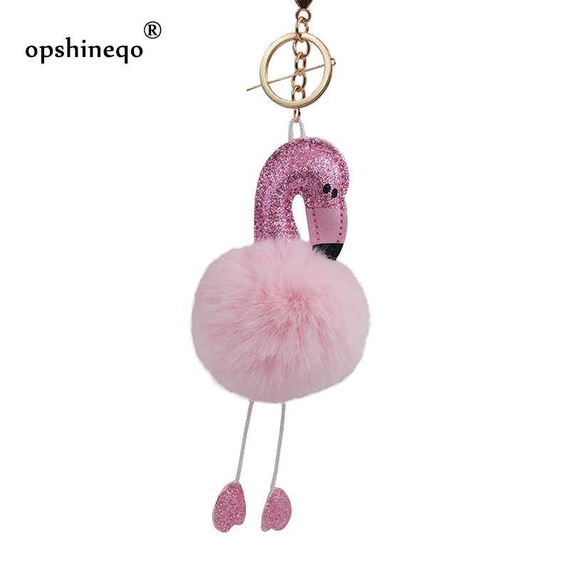 Cute Pompom Keychains Flamingo Keychain Fluffy Artificial Rabbit Fur Ball  Women fashion Bag Key Ring Pompon 6cecb69f9d54