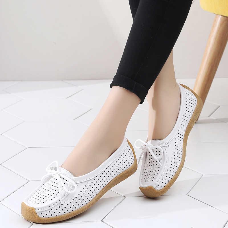 AARDIMI Cut-Outs vrouwen Espadrilles Zomer Vrouwen Echt Lederen Schoenen Casual Solid Slip Op Ondiepe Mocassins Dames Loafers