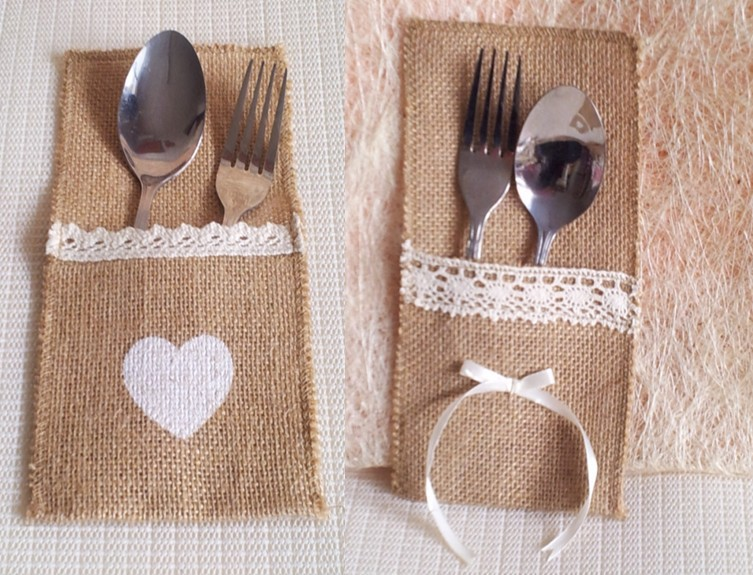 Natural Hessian Vintage Cutlery Holders Lace Burlap Bags Wedding Party Table  Boda Cutlery Pocket Knife Fork