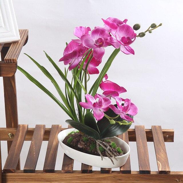 1set 4 Colors Flower Vase Artificial Orchid Silk Cloth Simulation Arrangement Well Bonsai Plant