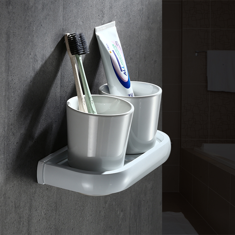Entique White Painting Nordic Double Cup Wall Mounted Bathroom Mouthwash Holder Pure White Ceramic Bathroom Accessories Set free shipping crystal and jade wall mounted toothbrush holder double ceramic cup brass holder