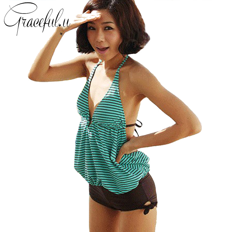 Large Size Swimwear Women Green Striped Female Beach Swimsuits With Shorts Sexy Backless ...