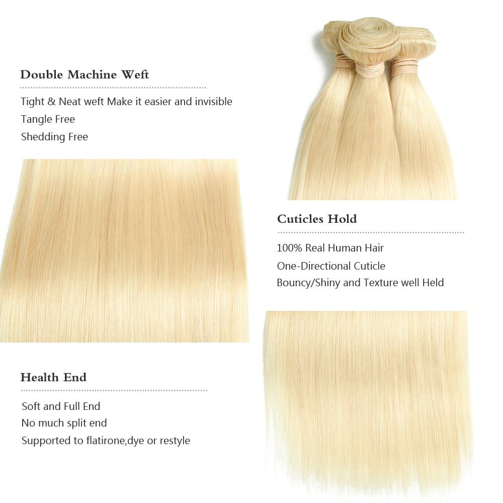 Safir 613 # Hårbrasilian Remy Hair Straight 613 Blonda Hårpaket Med - Barbershop - Foto 4