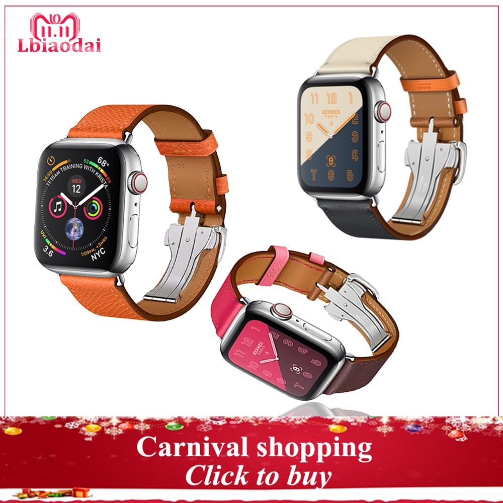 Cinturino in pelle Per Apple watch band 42mm 38mm 44mm 40mm iwatch correas 4/3/ 2/1 in acciaio bracciale in acciaio di Distribuzione Fibbia della cintura