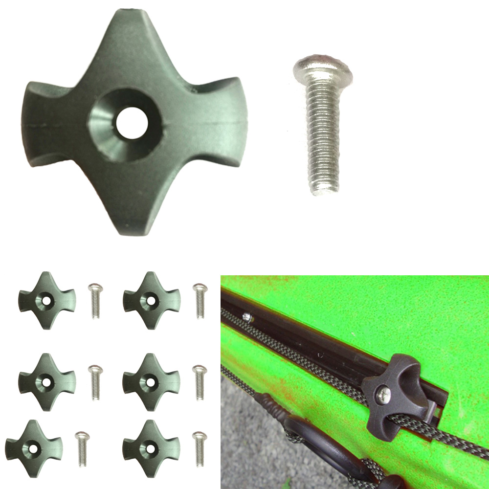 6Pcs Nylon Canoe Kayak Deck Line Guide With Screw Rowing Boat Dinghy Star Deck Fitting