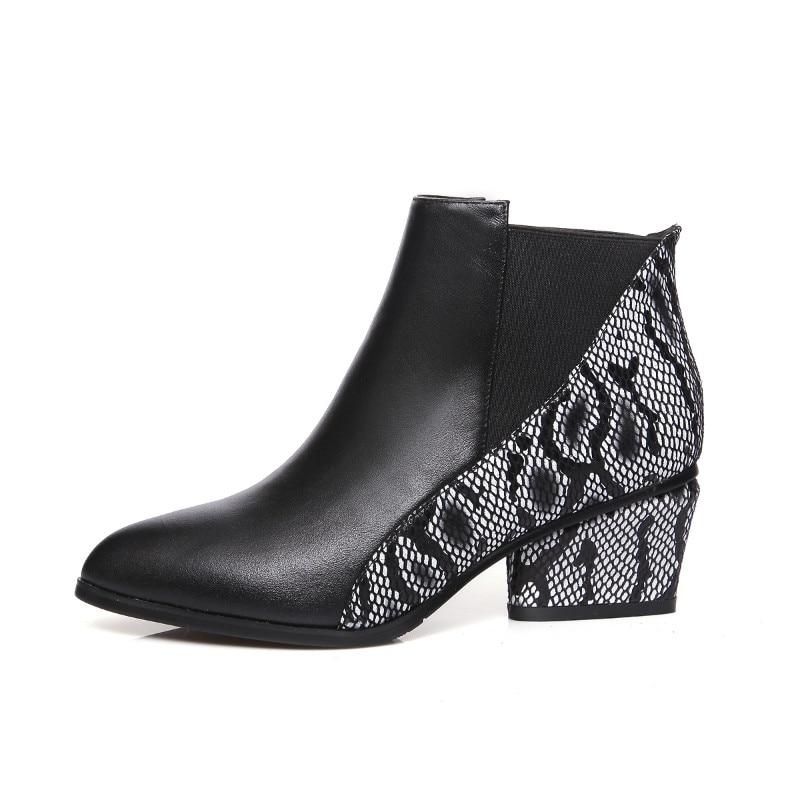 Main Chaussures Cheville Hiver À Patchwork La Pur Bottes Noir Top En Produit Automne Femmes Véritable Cuir 6wqngSzx7