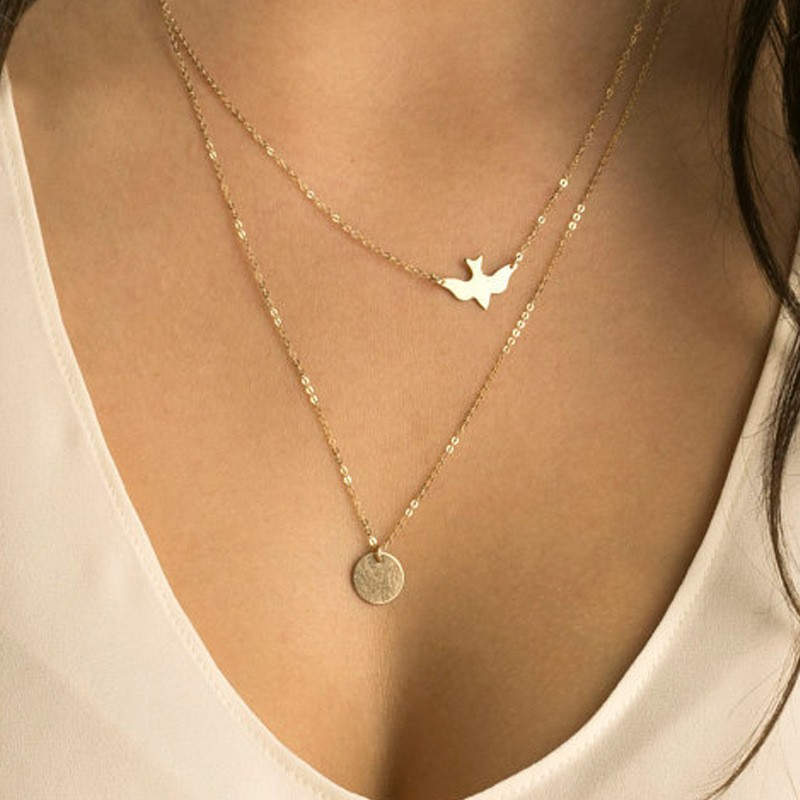 N123 Multilayer Necklaces For Women Peace Pigeon Birds Collares Minimalist Jewelry Circle Dainty Pendant Necklace Gift 2017