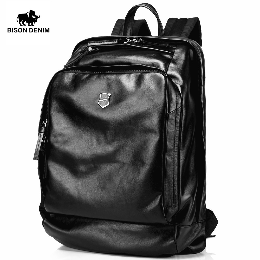 все цены на Bison Denim Soft Genuine Leather 15.6 inches Large Men Backpack Travel Laptop Backpack School Backpack Male Fashion N2378