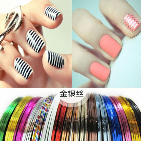 Professional 30pcs Set Mix Color Rolls Striping Tape Line Decals Foil Tips Nail Art Sticker