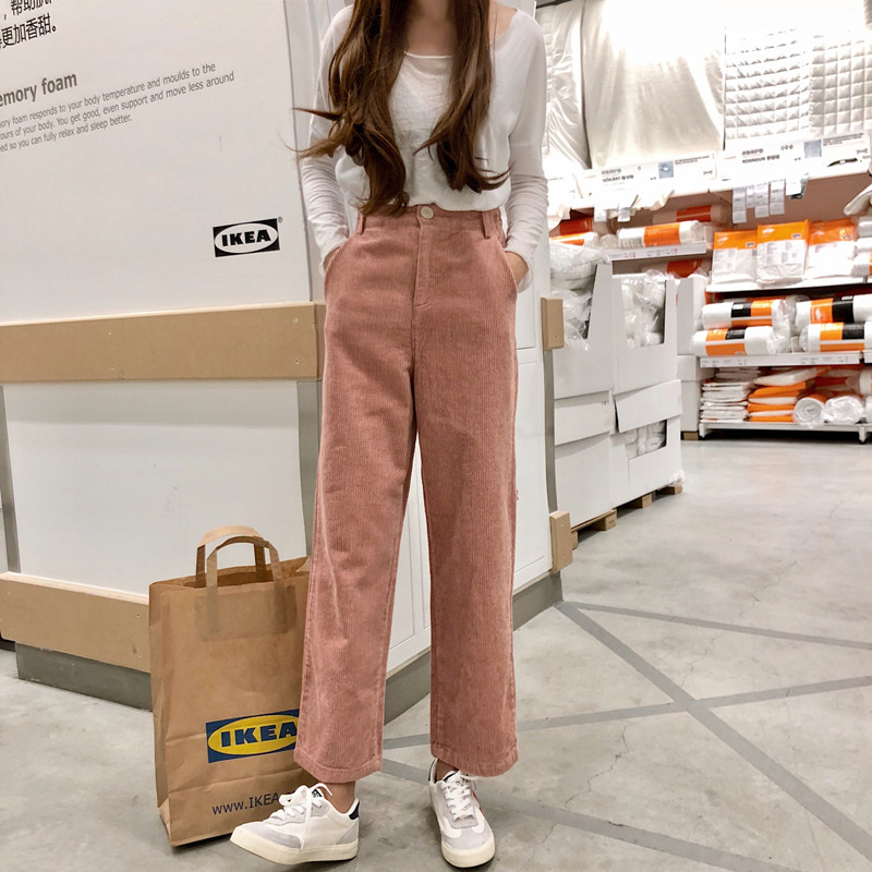 Autumn Winter   Pants   Women Corduroy Cropped Trousers Loose High Waist   Wide     Leg     Pants