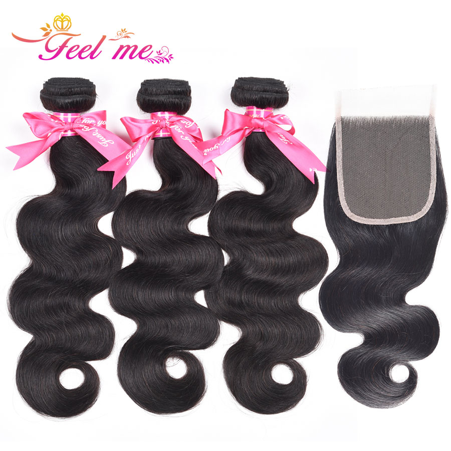 Feel Me Hair Peruvian Body Wave Bundles with Closure Free Part 10-28 Inch Human Hair 3 Bundles with Closure Non remy