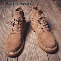 WOLF WHO nowe zimowe męskie buty moda mężczyzna zasznurować ciepłe kostki buty mężczyźni brytyjski styl buty męskie skórzane buty buty meskie X-032