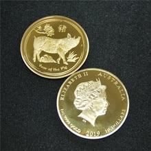 DHL free shipping 50pcs/lot Gold Coin Lunar II Pig 15 $1/10oz 1/10 oz 2019 plated  Perth Mint