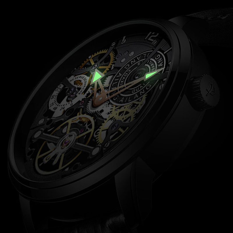 Image 3 - AILANG  Brand Men Automatic Watch Luxury Skeleton Mechanical Watches Men's Black Genuine Leather Clock Relogios Masculino 2019-in Mechanical Watches from Watches