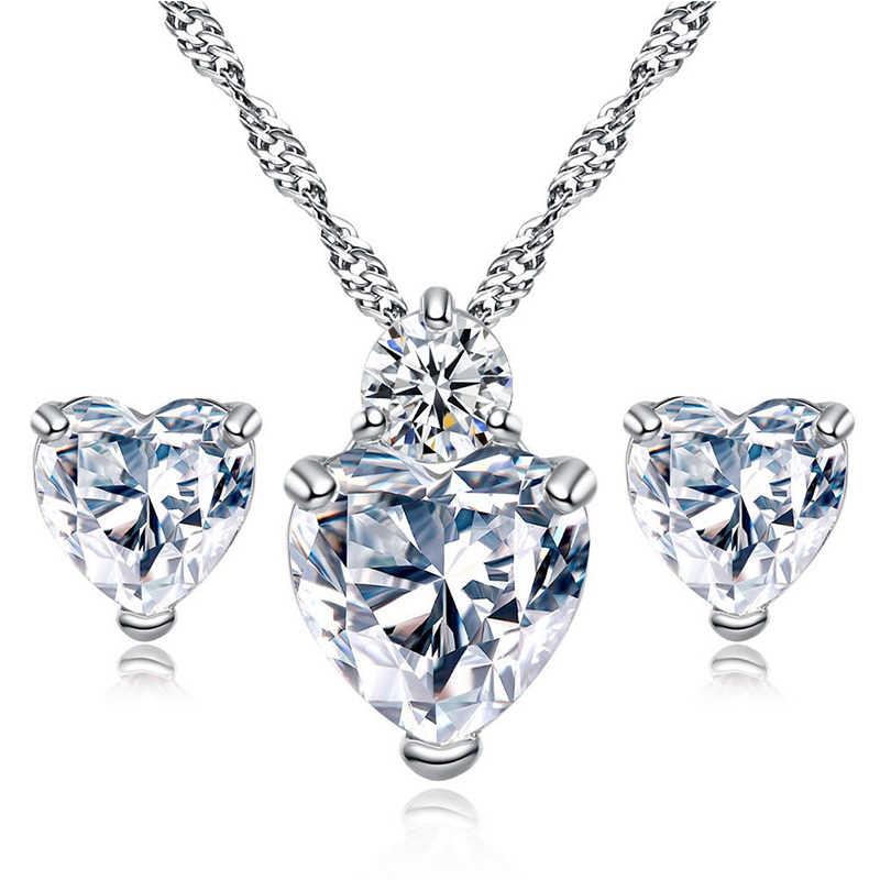 Romantische Liebe Herz Schmuck Sets für Frauen Hochzeit CZ Kristall Halskette Ohrringe Afrikanische Perlen Schmuck Sets Silber Farbe Bijoux