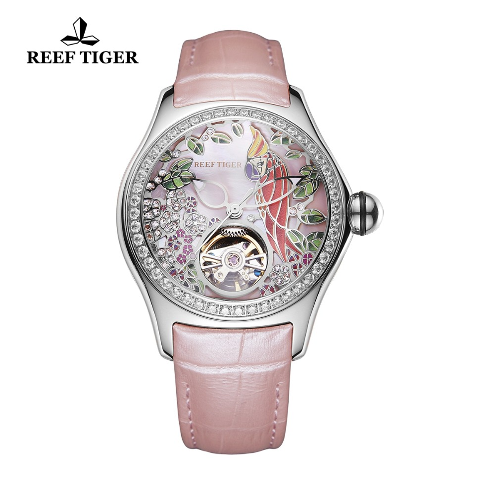 Reef Tiger 2018 Women Fashion Watches Diamonds Steel Genuine Leather Strap Automatic Analog Watches Waterproof RGA7105 все цены