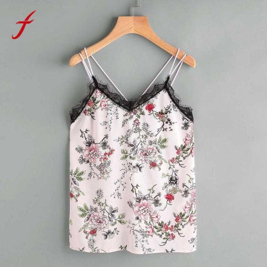 69b616692 2019 Summer Womens Fashion sleeveless tank top Super Quality feminino Casual  Shirts Chiffon Print V Neck