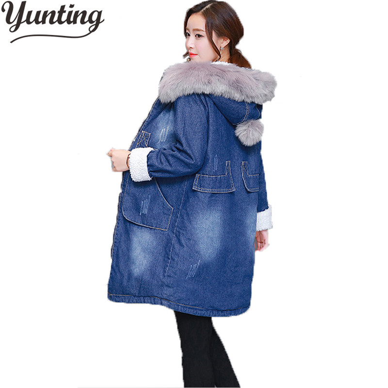 New 2018 Plus Size M-3XL Thick Long Sleeve Denim Jacket Womens Warm Coat Outerwear Fur Collar Hooded Denim Coat Winter Coats 2015 new hot winter thicken warm woman down jacket coat parkas outerwear hooded splice mid long plus size 3xxxl luxury cold