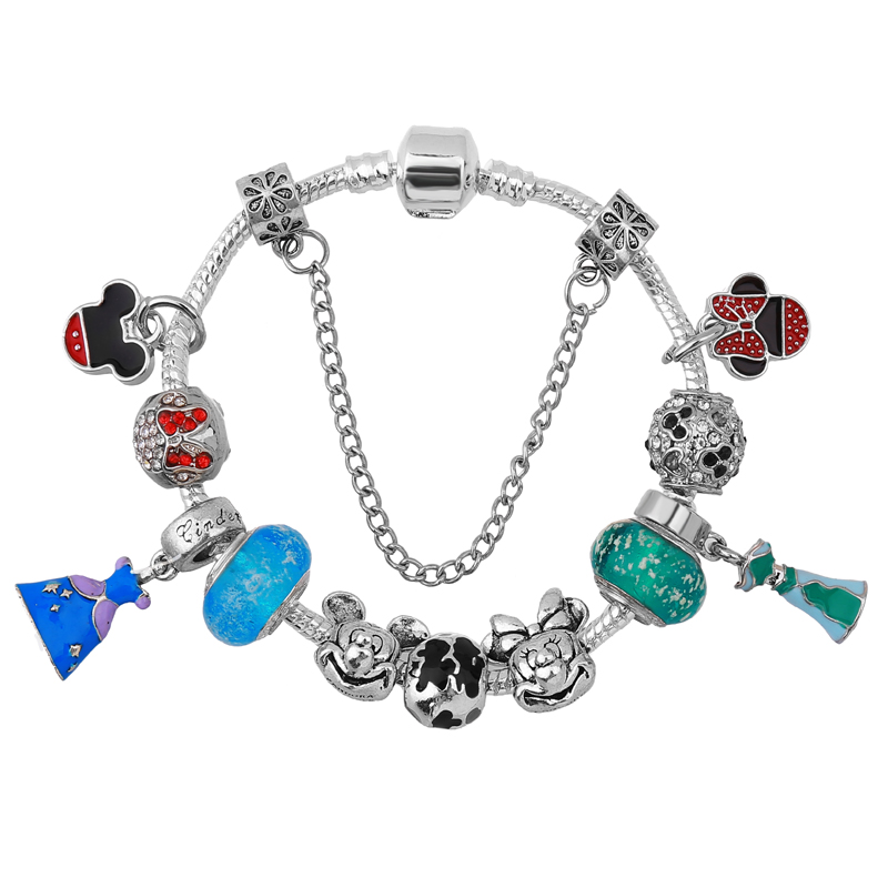 2018 New Mickey & Minnie Charm Bracelets For Women Princess Dress Beads Pandora Bracelets & Bangles DIY Jewelry Pulseras
