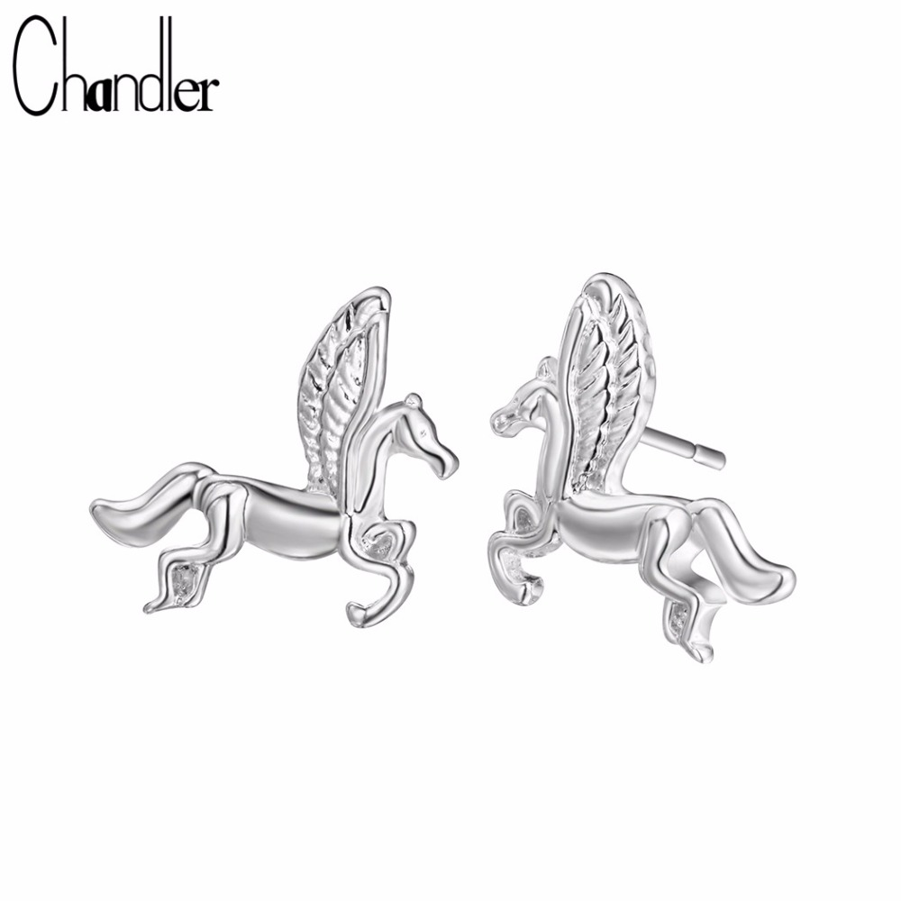 Chandler Silver Mythical Pegasus Stud Earrings For Women Girls Horse Brincos For Women Men Animal Earring Brinco Drop Shipping
