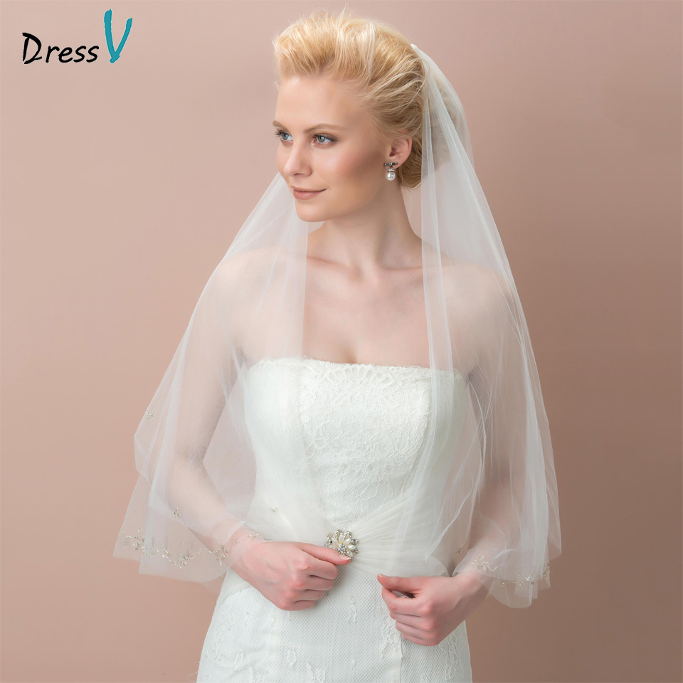 Dressv ivory mesh wedding veil tulle beads elbow bridal veil two-layer beads edge wedding accessories bridal veil for wedding