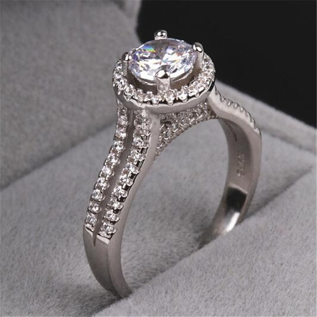 women fashion jewelry 925 sterling silver crown rings 3ct 5a diamonique cz engagement wedding band ring - Diamonique Wedding Rings
