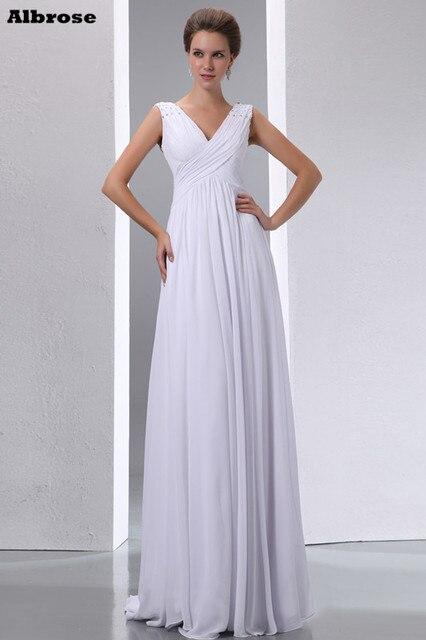 Sexy Crystal Deep V Neck Beach Wedding Dress White 2017 Cheap Simple Dresses Long Chiffon