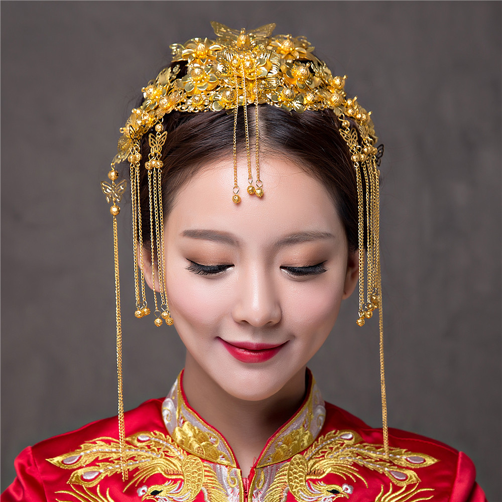 Chinese Classical Wedding Hair Accessories Bridal Costume Headdress Frontlet Coronet Hairpins Brides Headbans Hair Sticks Combs ожерелье bride makeup frontlet