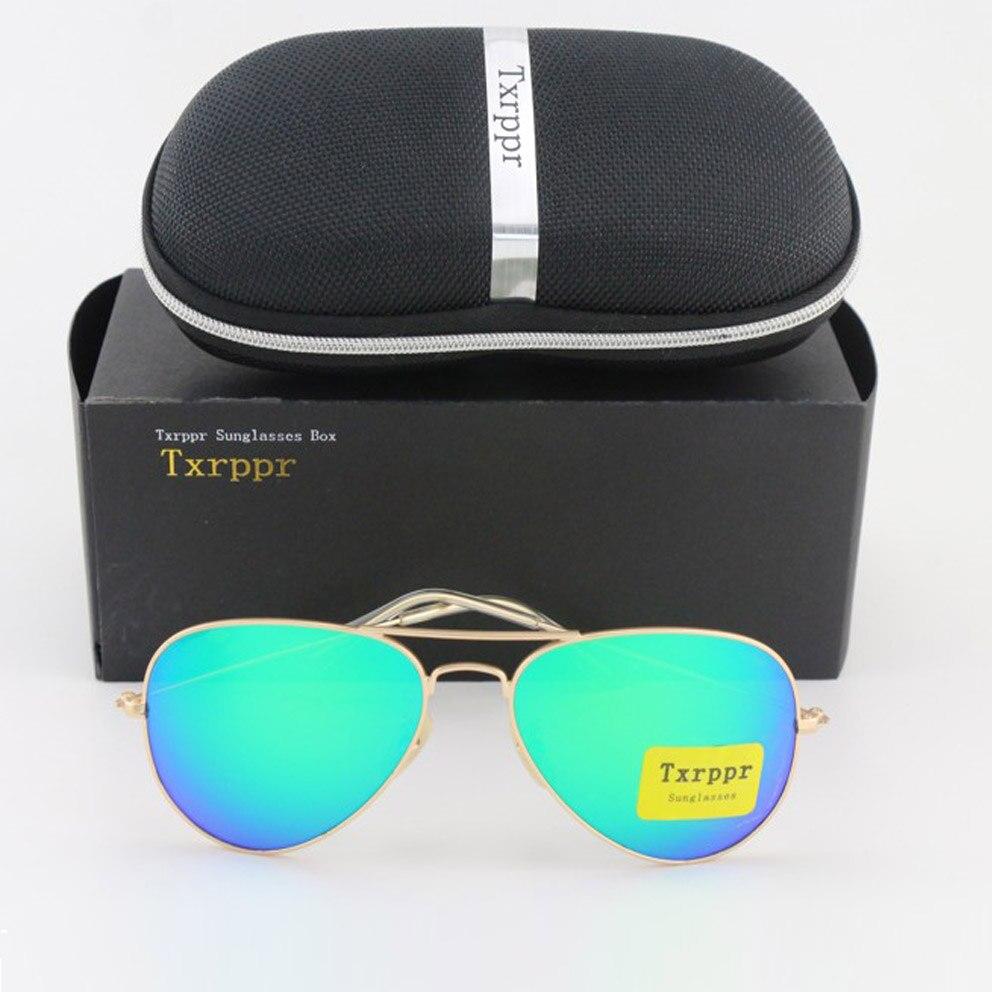 Txrppr Pánské dámské značkové sluneční brýle Zlaté kovové / zelené barevné zrcadlo sluneční brýle brýle brýlové