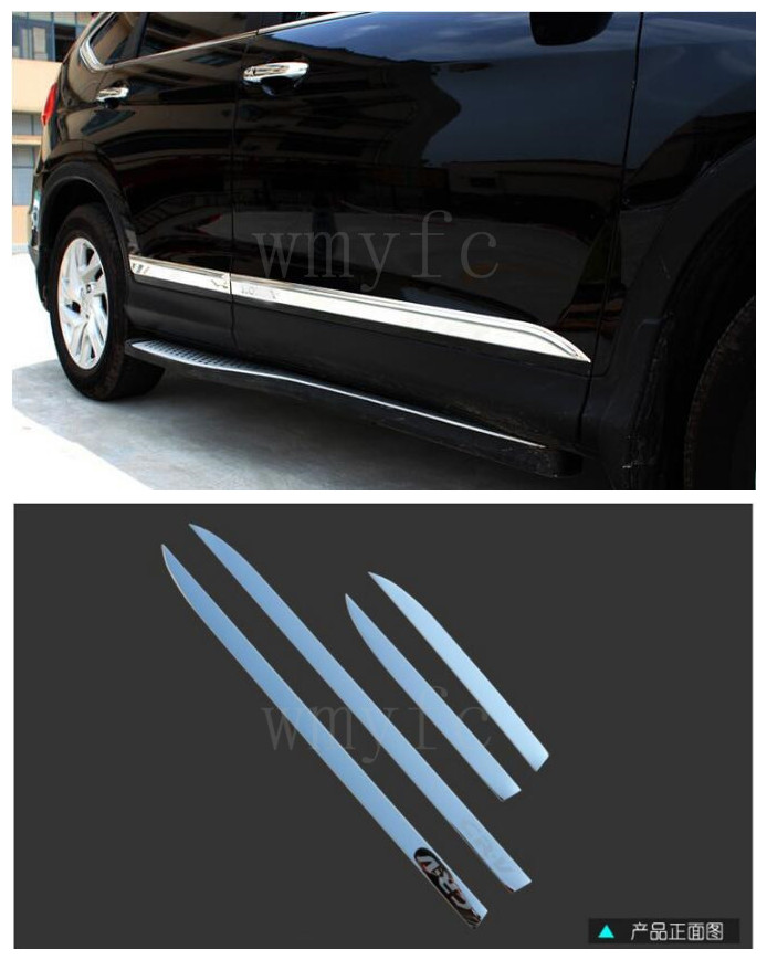 FIT FOR HONDA CRV CR-V 2012 2013 2014 2015 CHROME SIDE DOOR BODY MOLDING TRIM COVER LINE GARNISH PROTECTOR ACCESSORIES 4PCS/SET 2pcs fit for 2012 2013 2014 2015 2016 honda crv cr v rear bumper protector cargo step panel cover sill plate trunk trim garnish