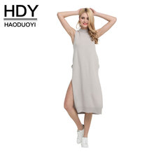 HDY Spring Sweater Dress Split Midi Women Sleeveless Dress Cold Shoulder Female Knitted Dress Hollow Out
