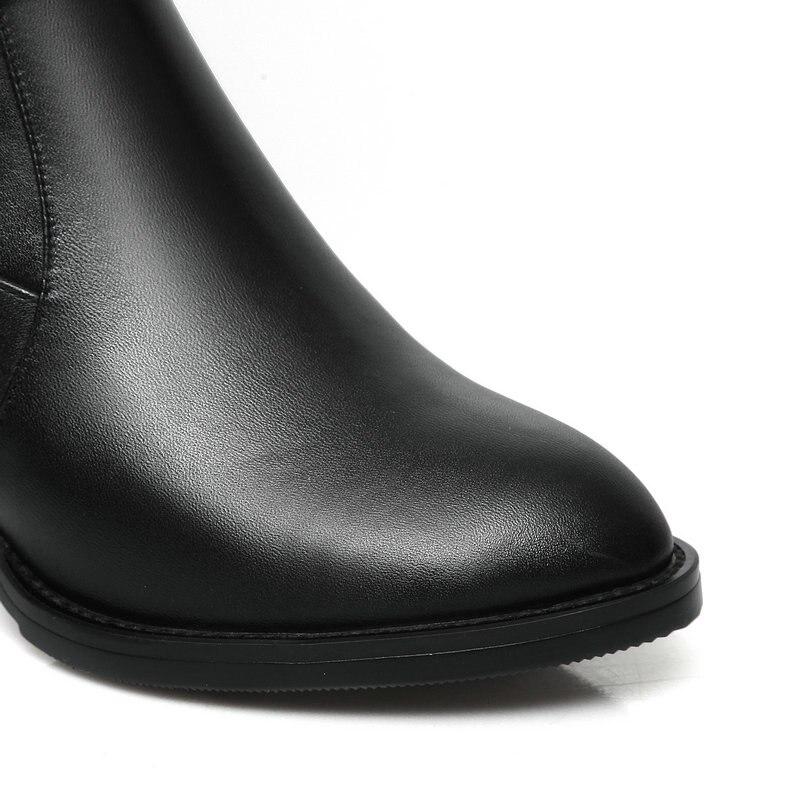 Gran Negro Femeninos Cuero 43 Gruesas Zapatos Botas Tamaño Rodilla Casuales De Occidentales Altos 42 Genuino Tacones Mujeres xqARF7nBa