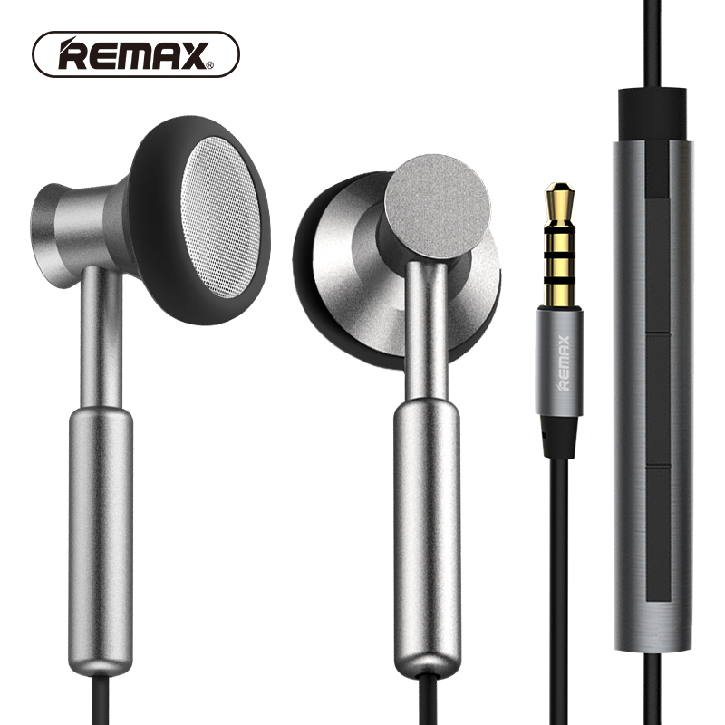 REMAX Metal In-ear Earphone with HD Mic Noise isolating Heavy Bass Earbuds Braided Cable Flat for phone huawei xiaomi 3 5mm jack standard 1 1m noise isolating reflective fiber cloth line stereo in ear earphone earbuds for phone mp4 mp3