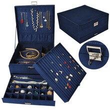 Guanya büyük kapasiteli mücevher kutusu çok katmanlı yüzük kolye vb. Organizatör çantası çekmece/kilit kadın düğün doğum günü hediyesi