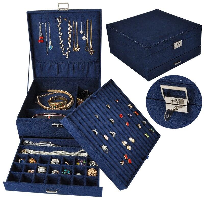 Guanya grande capacité boîte à bijoux multicouche anneau collier etc. Organisateur étui avec tiroir/serrure femmes mariage cadeau d'anniversaire