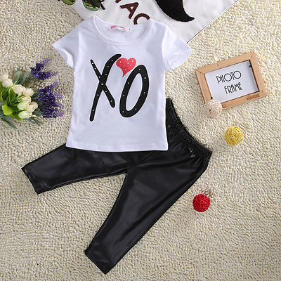 2Pcs Baby Girls Kids Toddler Short Sleeved T-shirt Tops Pants Outfit Sets Baby Girls Clothes Set Girls Clothing Set 2016 hot selling baby kids girls one piece sleeveless heart dots bib playsuit jumpsuit t shirt pants outfit clothes 2 7y