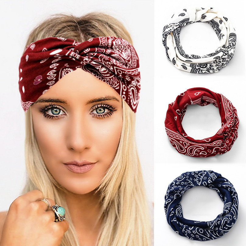 Benficial Women Vintage Flower Printed Elastic Head Wrap Twisted Cute Hair Accessories 2019 Summer