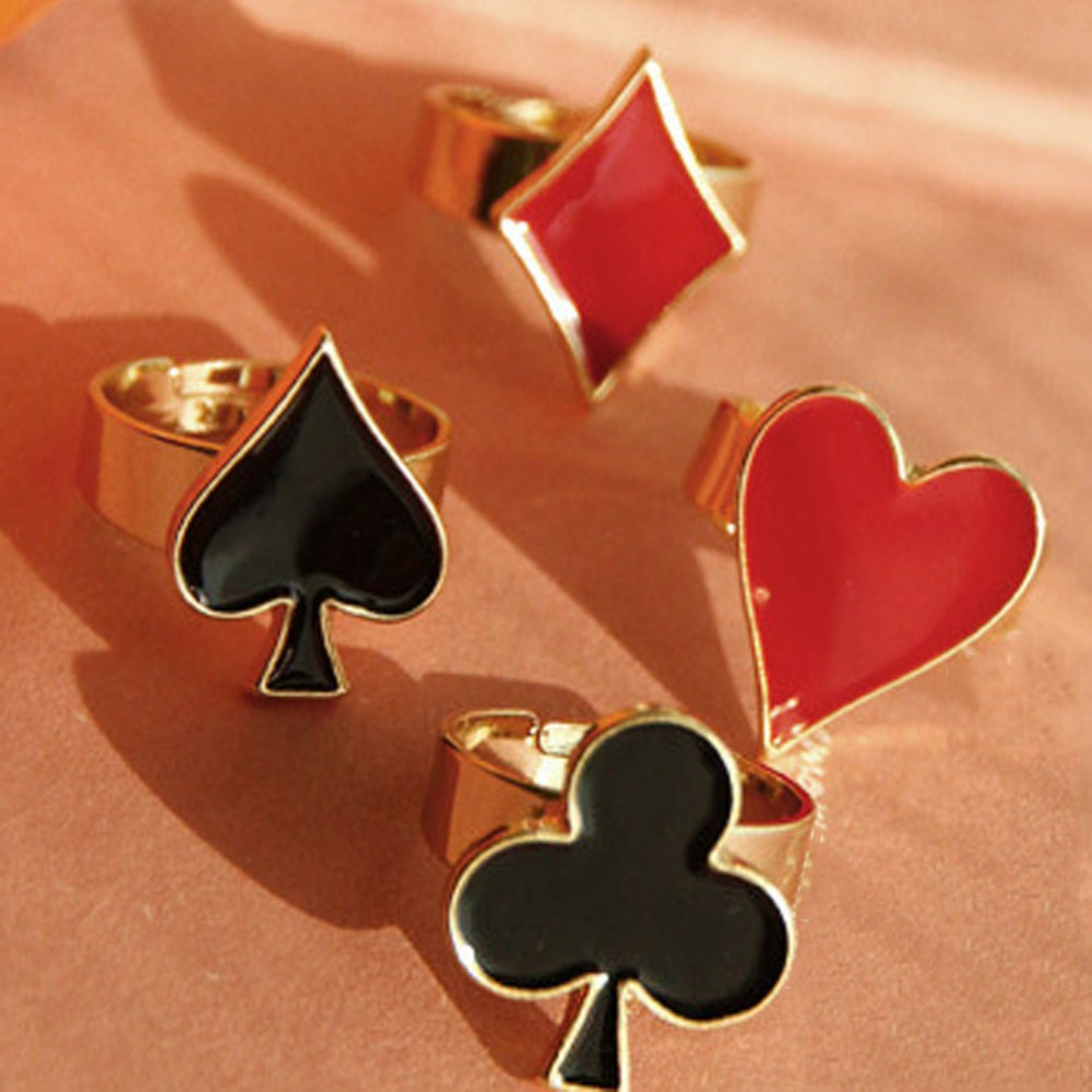 Fashion Personality Poker Rings Hot Sale Lady 4 Styles Punk Ring For Women Men Jewelry Gift