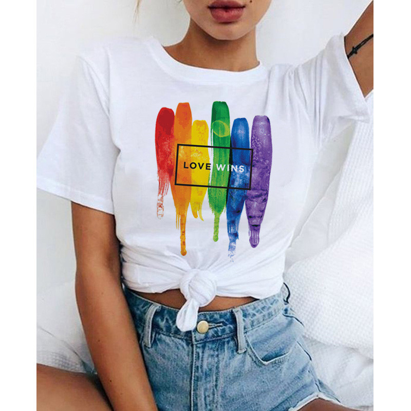 lgbt <font><b>t</b></font> <font><b>shirt</b></font> Love Wins female <font><b>bisexual</b></font> lesbian love is love women lesbian rainbow top <font><b>t</b></font>-<font><b>shirt</b></font> kawaii Female Clothes image