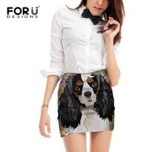 цена FORUDESIGNS King Charles Spaniel Dog Print Women Mini Skirts Ladies Cartoon Puppy Pencil Skirts for Females Fashion Beach Bottom онлайн в 2017 году