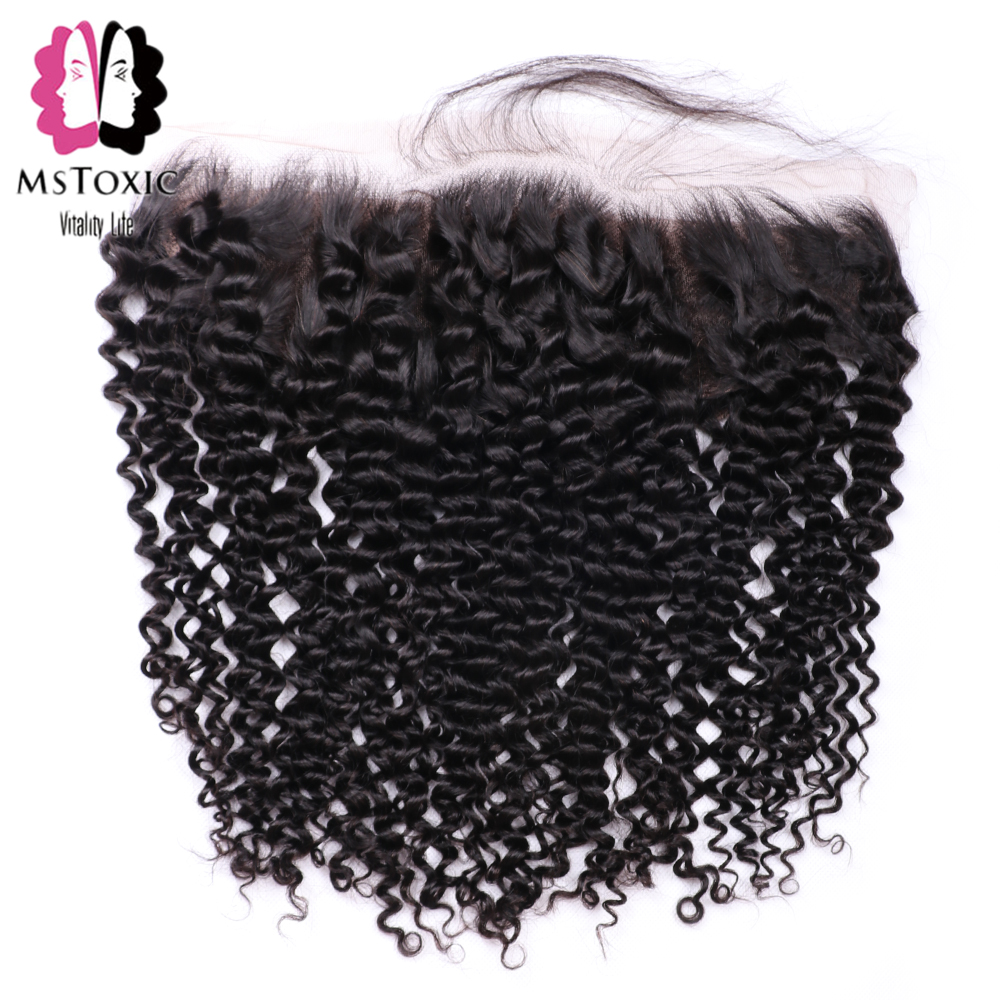 MsToxic Pre Plucked Brazilian Kinky Curly Frontal Closure NonRemy Human Hair Frontal 13x4 Lace Frontal Closure With Baby Hair(China)