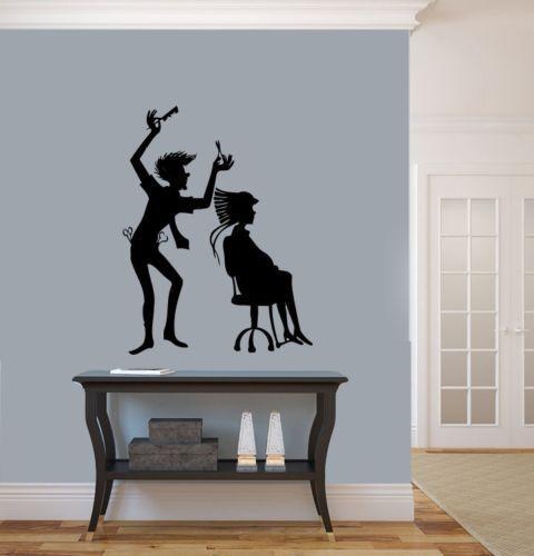 Creative salon vinyl wall decal beauty design hair stylist hairdresser mural art wall sticker - Stickers salon design ...