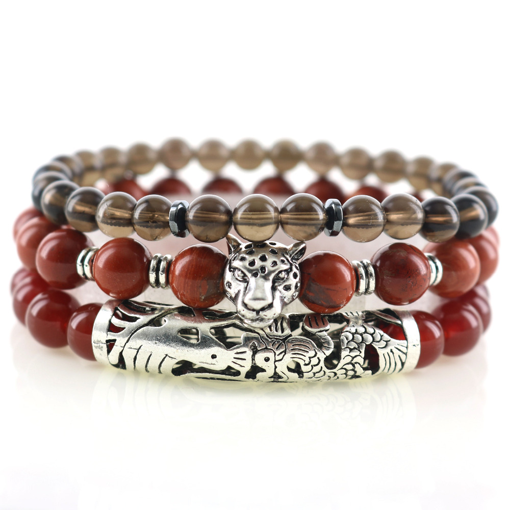 Leopard Head Dragon Phenix Pattern Tube Red Loose Natural Stones Men Wrap Bracelets Bangles Healing Powerful Smoky Beads