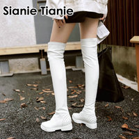 Sianie Tianie 2019 winter white punk pointed toe woman shoes PU stretched women overknees over the knee high boots with rivets