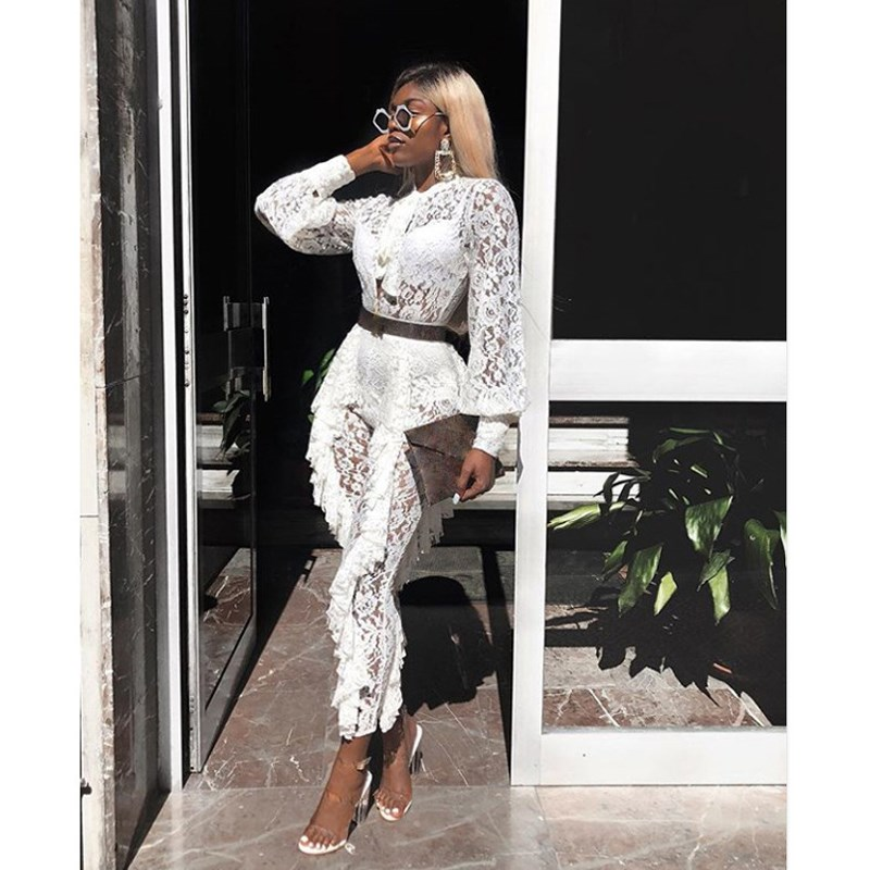 Women Autumn Ruffles Floral Lace Jumpsuits White Solid Lantern Sleeve Bodycon See Through Sexy